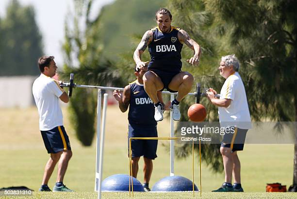 Daniel Osvaldo of Boca Juniors jumps during Boca Juniors Training Session at Sofitel Cardales Hotel on January 07 2016 in Los Cardales Argentina