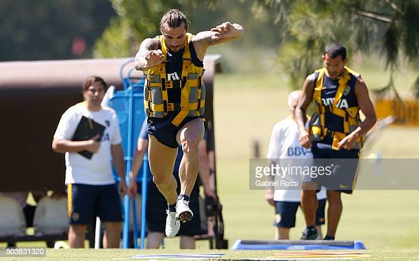 Daniel Osvaldo of Boca Juniors runs during Boca Juniors Training Session at Sofitel Cardales Hotel on January 07 2016 in Los Cardales Argentina