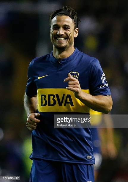Daniel Osvaldo of Boca Juniors smiles during a match between Boca Juniors and River Plate as part of 11th round of Torneo Primera Division 2015 at...