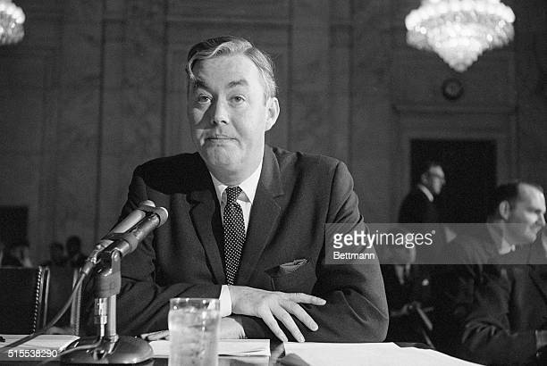 Daniel P Moynihan Kennedy Administration policy planner is shown as he appeared before the Senate Government Operations subcommittee which continued...