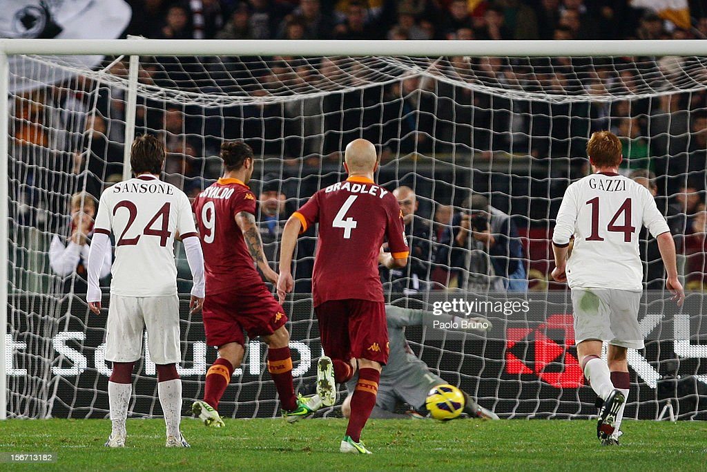 Daniel Pablo Osvaldo #9 of AS Roma scores the opening goal from penalty during the Serie A match between AS Roma and Torino FC at Stadio Olimpico on November 19, 2012 in Rome, Italy.