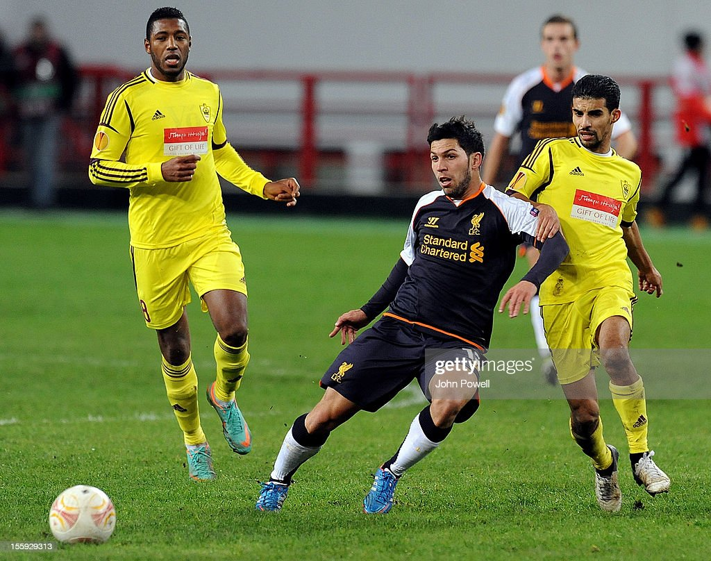 Daniel Pacheco of Liverpool during the UEFA Europa League match between FC Anzhi Makhachkala and Liverpool FC at Lokomotiv Stadium on November 8 2012...