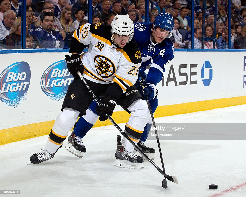 <a gi-track='captionPersonalityLinkClicked' href=/galleries/search?phrase=Daniel+Paille&family=editorial&specificpeople=706561 ng-click='$event.stopPropagation()'>Daniel Paille</a> #20 of the Boston Bruins battles for the puck against <a gi-track='captionPersonalityLinkClicked' href=/galleries/search?phrase=Matt+Carle&family=editorial&specificpeople=582495 ng-click='$event.stopPropagation()'>Matt Carle</a> #25 of the Tampa Bay Lightning during the second period at the Tampa Bay Times Forum on October 19, 2013 in Tampa, Florida.