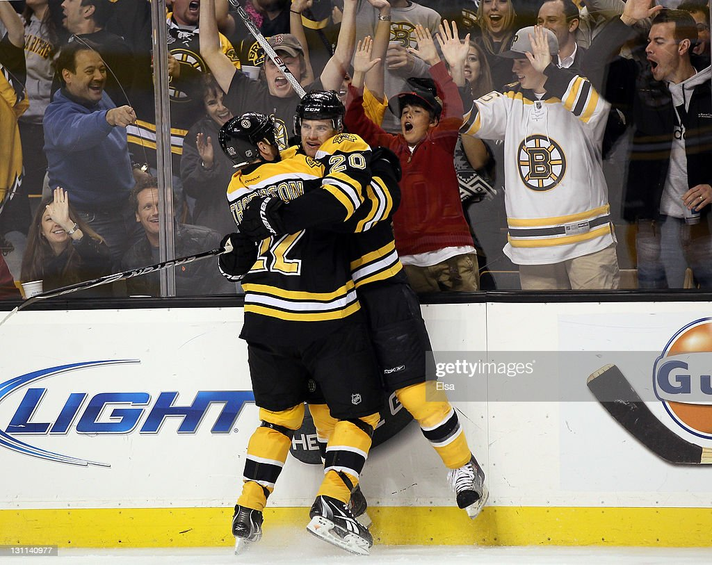 <a gi-track='captionPersonalityLinkClicked' href=/galleries/search?phrase=Daniel+Paille&family=editorial&specificpeople=706561 ng-click='$event.stopPropagation()'>Daniel Paille</a> #20 of the Boston Bruins celebrates his goal with teammate <a gi-track='captionPersonalityLinkClicked' href=/galleries/search?phrase=Shawn+Thornton&family=editorial&specificpeople=221639 ng-click='$event.stopPropagation()'>Shawn Thornton</a> #22 in the third period against the Ottawa Senators on November 1, 2011 at TD Garden in Boston, Massachusetts. The Boston Bruins defeated the Ottawa Senators 5-3.