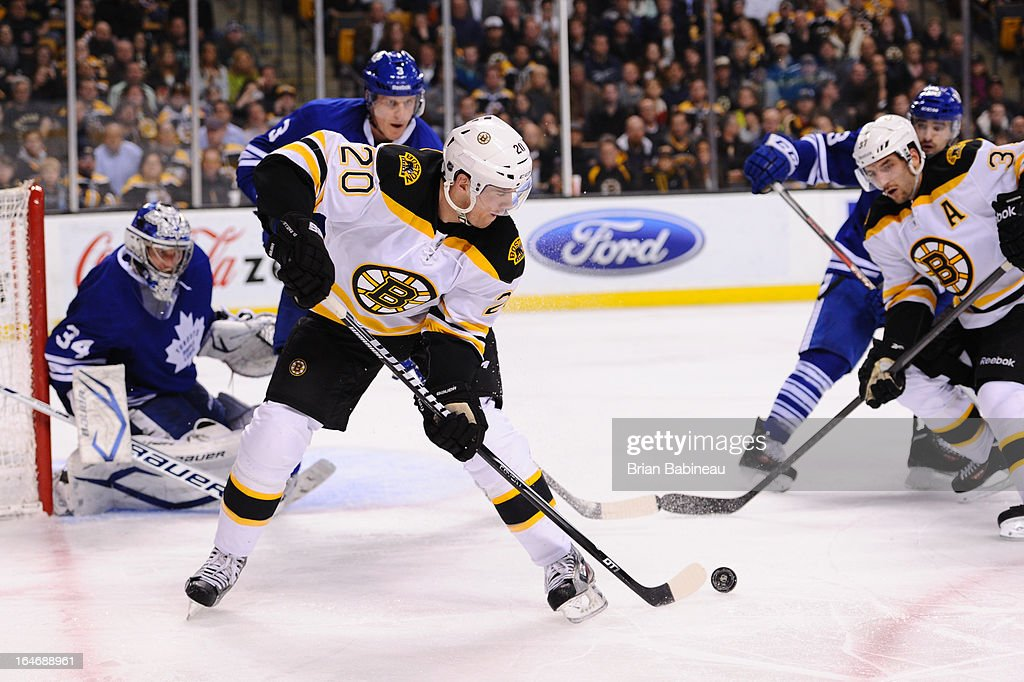 Daniel Paille #20 of the Boston Bruins passes the puck against the Toronto Maple Leafs at the TD Garden on March 25, 2013 in Boston, Massachusetts.
