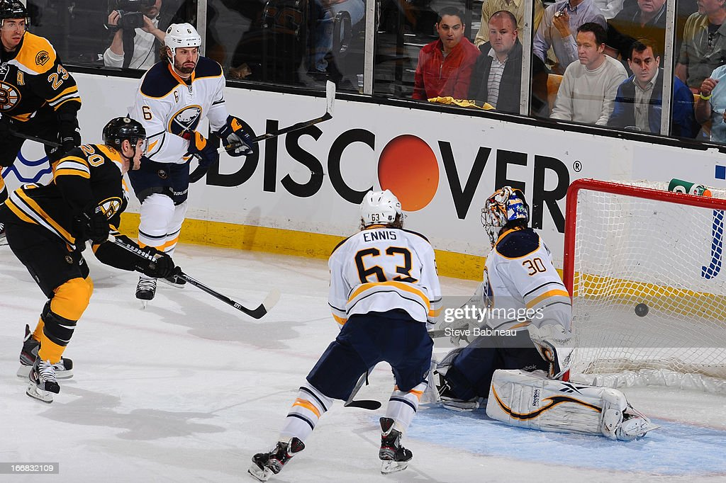 <a gi-track='captionPersonalityLinkClicked' href=/galleries/search?phrase=Daniel+Paille&family=editorial&specificpeople=706561 ng-click='$event.stopPropagation()'>Daniel Paille</a> #20 of the Boston Bruins scores a goal against the Buffalo Sabres at the TD Garden on April 17, 2013 in Boston, Massachusetts.