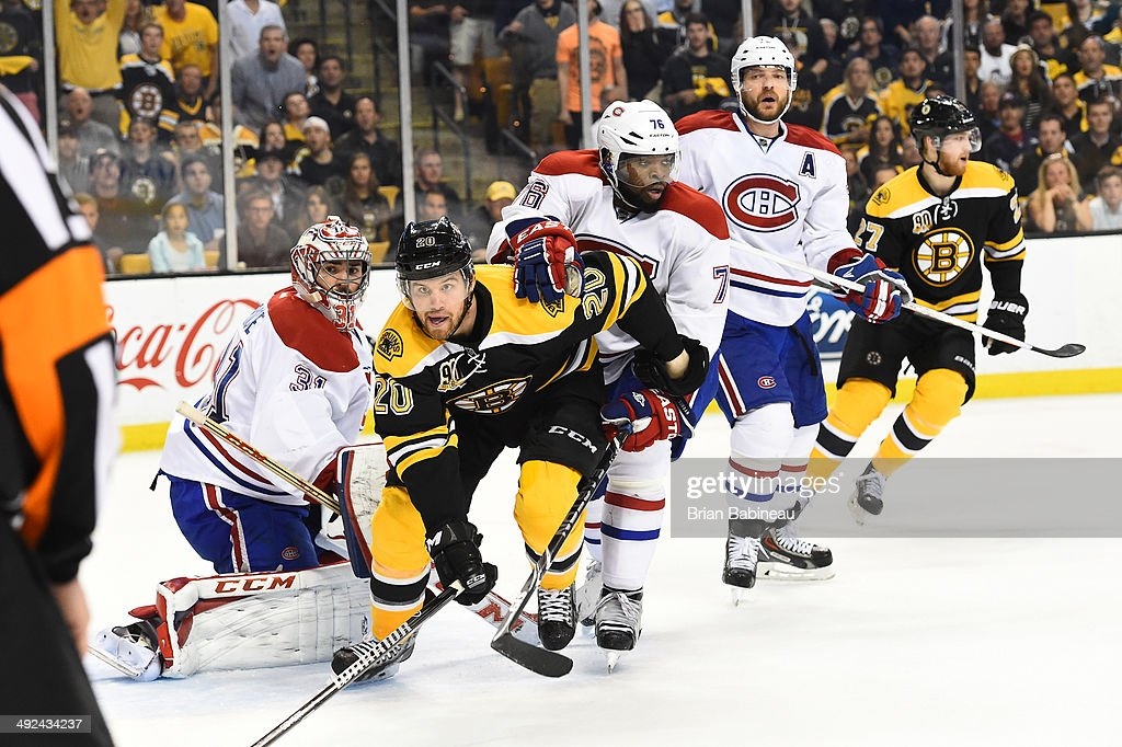 Daniel Paille #20 of the Boston Bruins watches the play against Carey Price #31 and P.K. Subban #76 of the Montreal Canadiens in Game Seven of the Second Round of the 2014 Stanley Cup Playoffs at TD Garden on May 14, 2014 in Boston, Massachusetts.