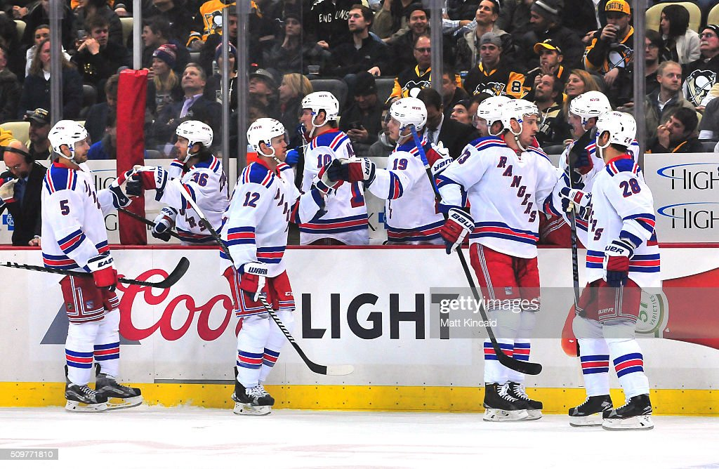 <a gi-track='captionPersonalityLinkClicked' href=/galleries/search?phrase=Daniel+Paille&family=editorial&specificpeople=706561 ng-click='$event.stopPropagation()'>Daniel Paille</a> #12 of the New York Rangers is congratulated by his bench after scoring a goal in the first period during a game against the Pittsburgh Penguins at Consol Energy Center on February 10, 2016 in Pittsburgh, Pennsylvania.