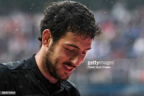 Daniel Parejo Munoz of Valencia CF reacts during their La Liga match between Real Madrid and Valencia CF at the Santiago Bernabeu Stadium on 29 April...