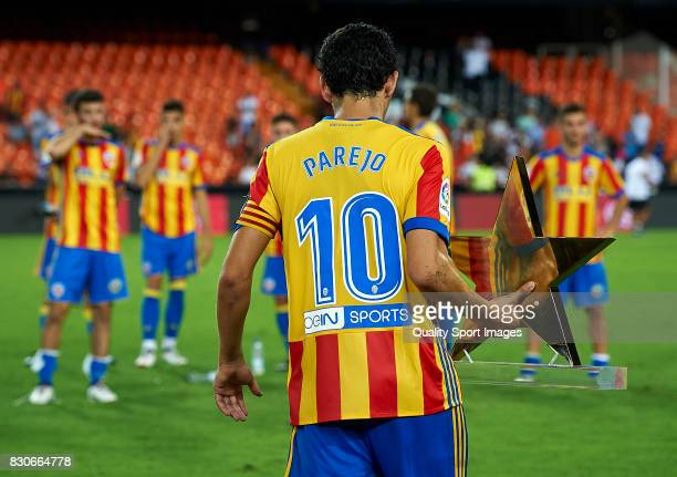 Daniel Parejo of Valencia after the end of the preseason friendly match between Valencia CF and Atalanta BC at Estadio Mestalla on August 11 2017 in...