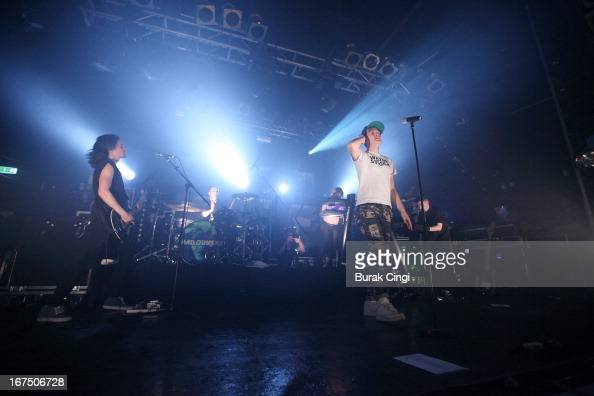 Daniel 'Pilau' Rice Nick Rice and James Smith of Hadouken perform on stage at Electric Ballroom on April 25 2013 in London England
