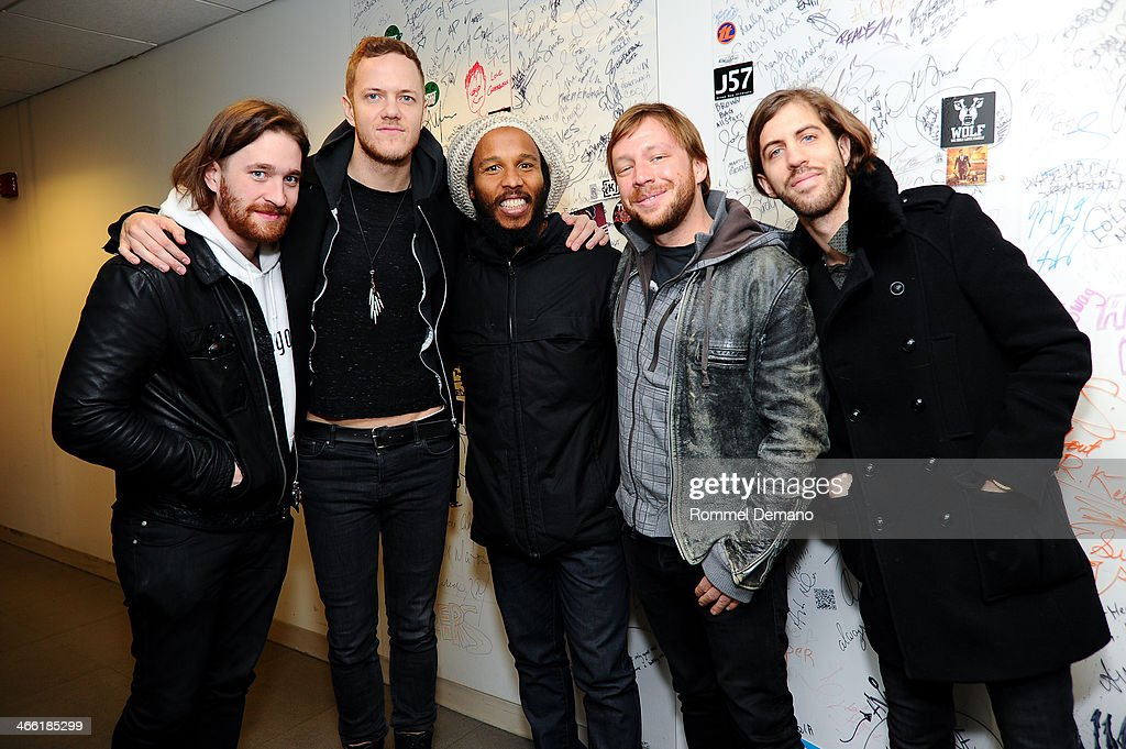 Daniel Platzman Dan Reynolds Ziggy Marley Ben Mckee and Wayne Shermon visit at SiriusXM Studios on January 31 2014 in New York City