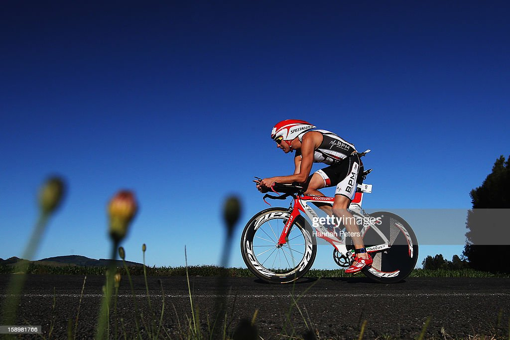 Daniel Plews of Auckland competes in the Port of Tauranga Half Ironman on January 5, 2013 in Auckland, New Zealand.