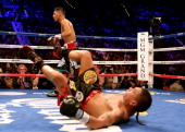 Daniel Ponce de Leon is knocked down against Abner Mares in their WBC featherweight title bout at the MGM Grand Garden Arena on May 4 2013 in Las...