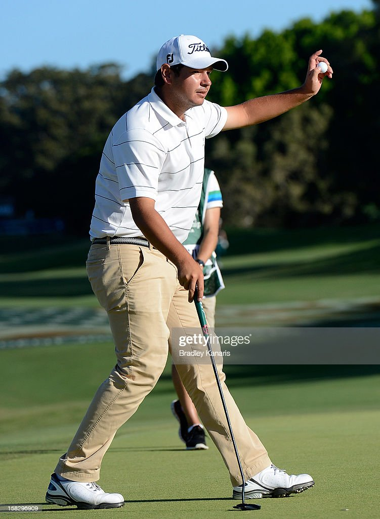 Daniel Popovic of Australia acknowledges the cheers from the crowd after leading the field at the end of the days play during round one of the Australian PGA at the Palmer Coolum Resort on December 13, 2012 in Sunshine Coast, Australia.