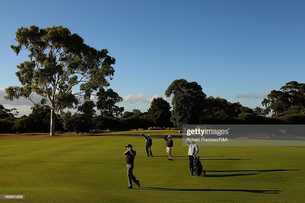 Daniel Popovic of Australia plays a shot on the 1st hole during day two of the British Open International Final Qualifying Australasia at Kingston Heath Golf Club on January 30, 2013 in Melbourne, Australia.