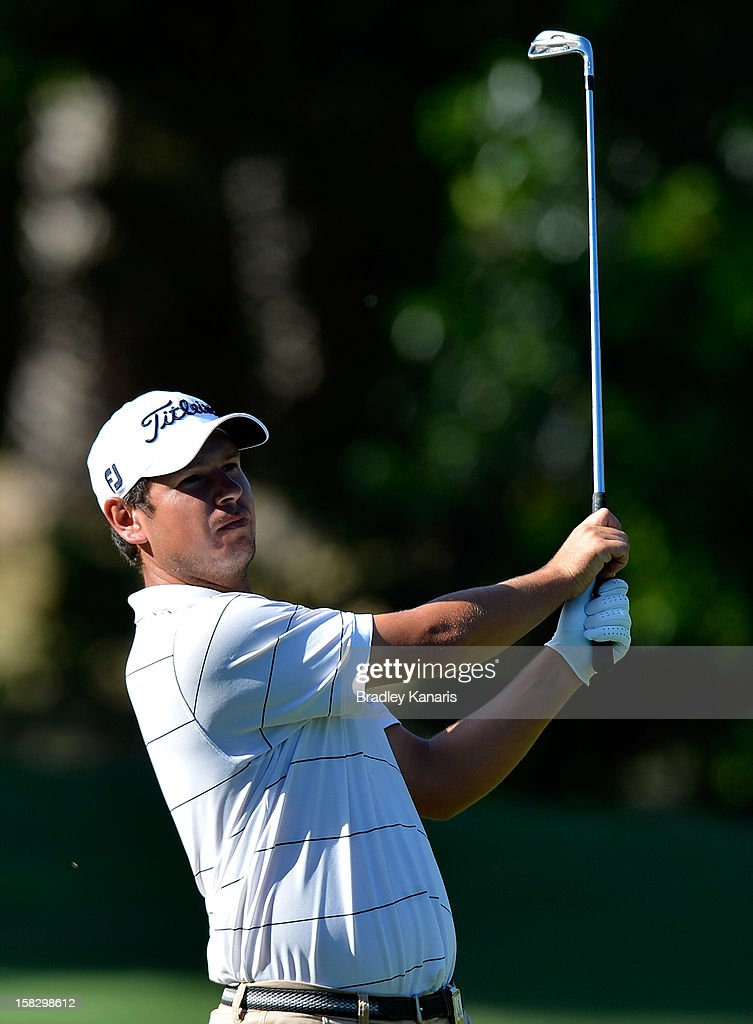 Daniel Popovic of Australia plays a shot on the 8th hole during round one of the Australian PGA at the Palmer Coolum Resort on December 13, 2012 in Sunshine Coast, Australia.