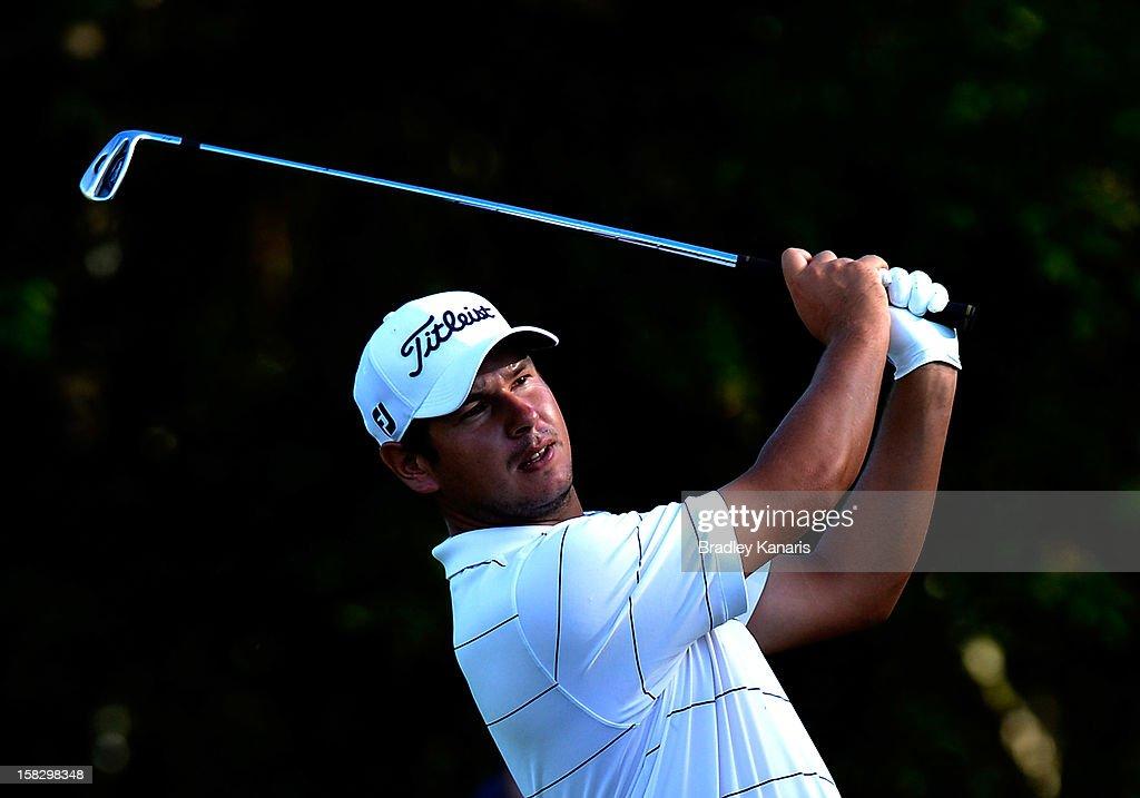 Daniel Popovic of Australia plays a shot on the ninth fairway during round one of the Australian PGA at the Palmer Coolum Resort on December 13, 2012 in Sunshine Coast, Australia.