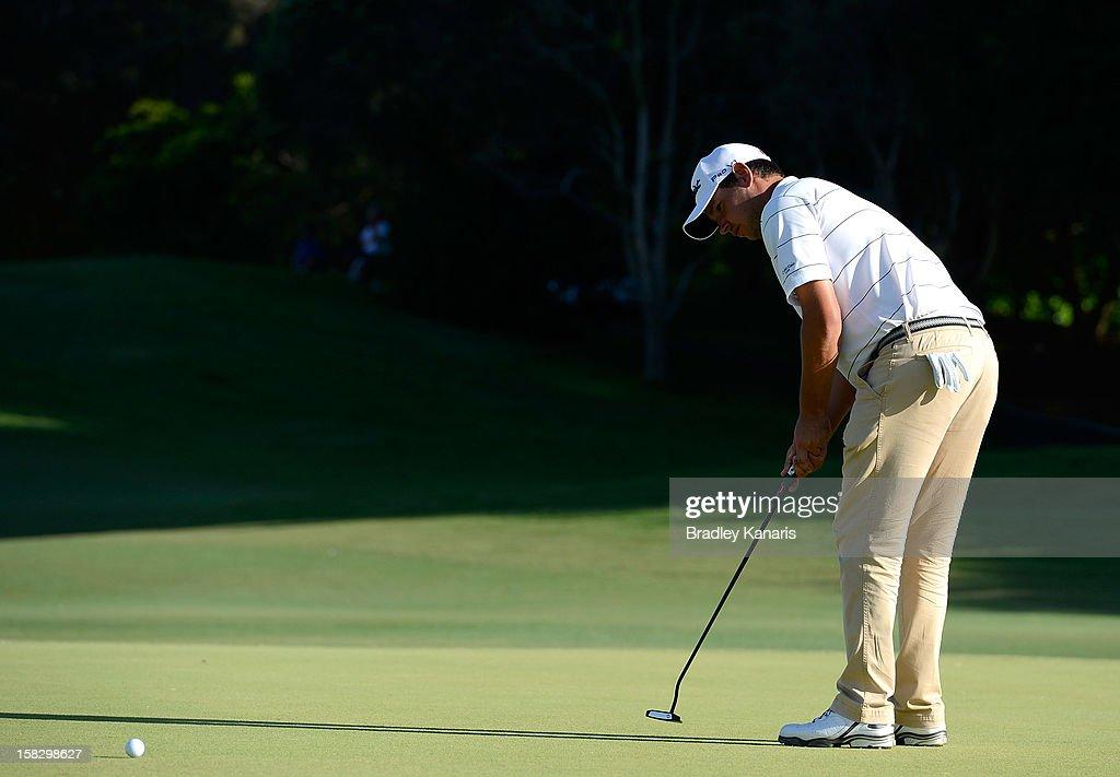 Daniel Popovic of Australia putts on the ninth hole during round one of the Australian PGA at the Palmer Coolum Resort on December 13, 2012 in Sunshine Coast, Australia.