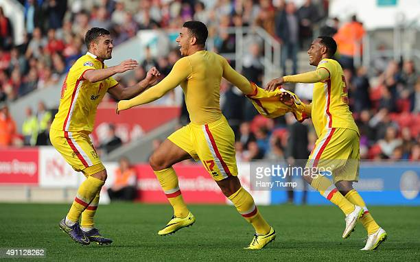Daniel Powell of MK Dons celebrates his sides first goal during the Sky Bet Championship match between Bristol City and MK Dons at Ashton Gate on...
