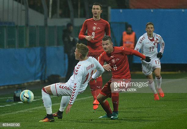 Daniel Pudil of Czech Republic vies for a ball with Viktor Fischer during the friendly football match Czech Republic vs Denmark in Mlada Boleslav on...