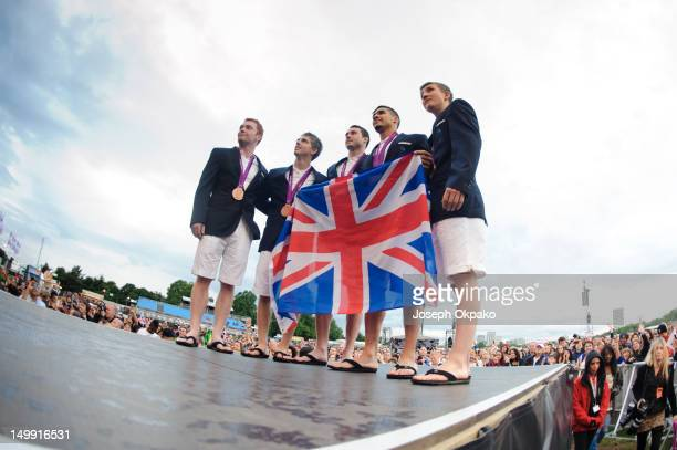 Daniel Purvis Max Whitlock Kristian Thomas Louis Smith and Sam Oldham of the Men's British gymnastics team show off their medals at Hyde park London...