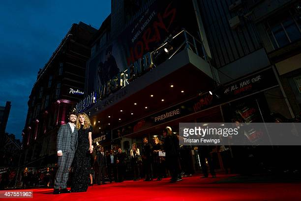 Daniel Radcliffe and Juno Temple attends the UK Premiere of 'Horns' at Odeon West End on October 20 2014 in London England
