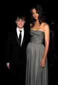 NEW YORK JUNE 13 Daniel Radcliffe and Katie Holmes in the green room at the 64th Annual Tony Awards at Radio City Music Hall on June 13 2010 in New...