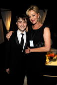 NEW YORK JUNE 13 Daniel Radcliffe and Melanie Griffith in the green room at the 64th Annual Tony Awards at Radio City Music Hall on June 13 2010 in...