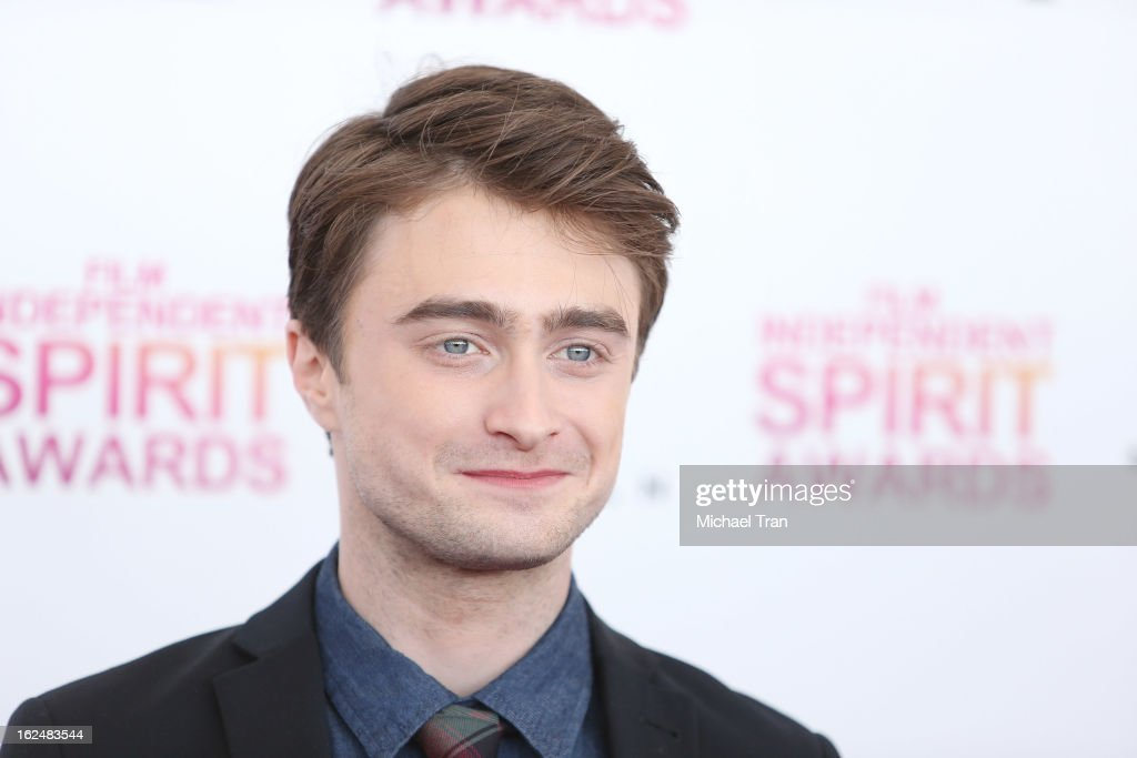 <a gi-track='captionPersonalityLinkClicked' href=/galleries/search?phrase=Daniel+Radcliffe&family=editorial&specificpeople=204144 ng-click='$event.stopPropagation()'>Daniel Radcliffe</a> arrives at the 2013 Film Independent Spirit Awards held on February 23, 2013 in Santa Monica, California.