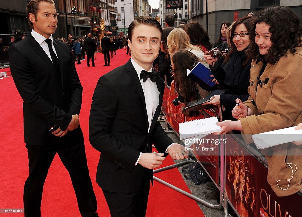 <a gi-track='captionPersonalityLinkClicked' href=/galleries/search?phrase=Daniel+Radcliffe&family=editorial&specificpeople=204144 ng-click='$event.stopPropagation()'>Daniel Radcliffe</a> arrives at The Laurence Olivier Awards 2013 at The Royal Opera House on April 28, 2013 in London, England.