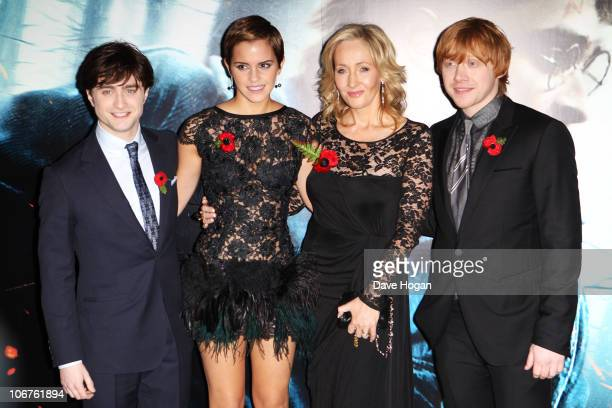 Daniel Radcliffe Emma Watson J K Rowling and Rupert Grint attend the World Premiere of Harry Potter And The Deathly Hallows Part 1 held at The Odeon...