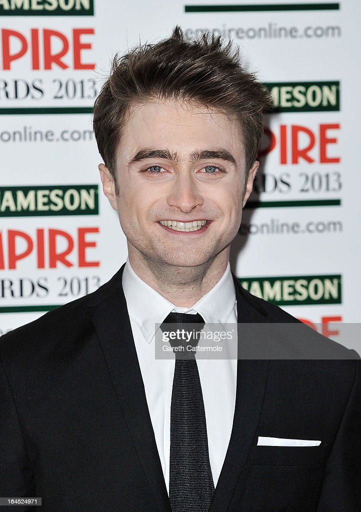 Daniel Radcliffe is pictured arriving at the Jameson Empire Awards at Grosvenor House on March 24, 2013 in London, England.