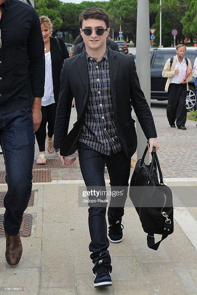 <a gi-track='captionPersonalityLinkClicked' href=/galleries/search?phrase=Daniel+Radcliffe&family=editorial&specificpeople=204144 ng-click='$event.stopPropagation()'>Daniel Radcliffe</a> is seen arriving at Venice Airport during The 70th Venice International Film Festival on September 1, 2013 in Venice, Italy.