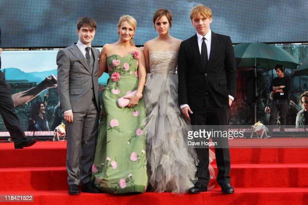 Daniel Radcliffe JK Rowling Emma Watson and Rupert Grint attend the world premiere of Harry Potter and the Deathly Hallows Part 2 at Trafalgar Square...