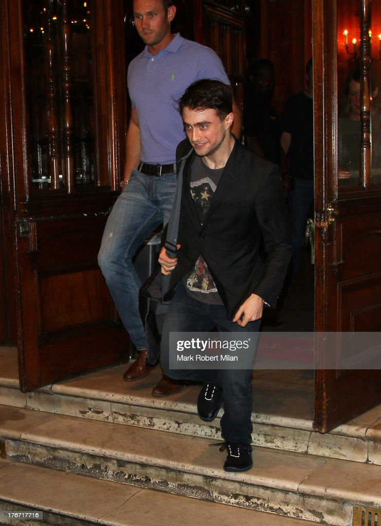 Daniel Radcliffe leaving the Noel Coward theatre following his performance in The Cripple of the Inishmaan on August 17, 2013 in London, England.