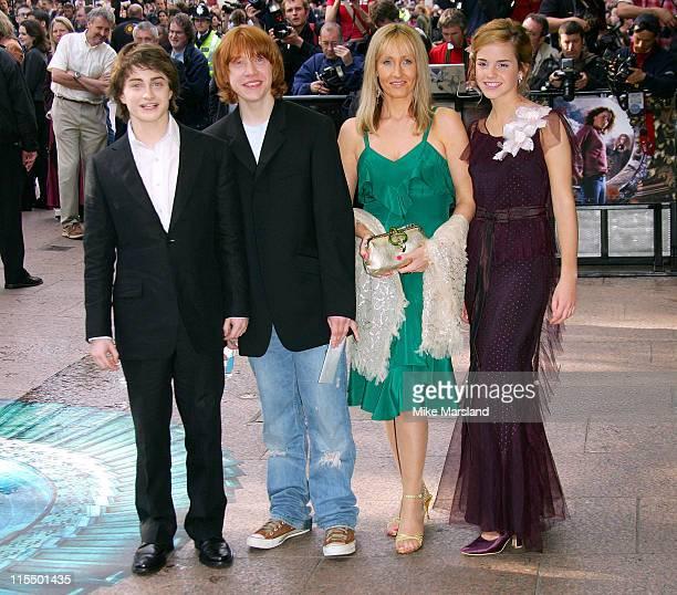 Daniel Radcliffe Rupert Grint J K Rowling and Emma Watson