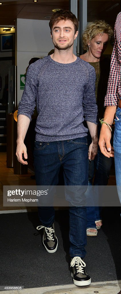 <a gi-track='captionPersonalityLinkClicked' href=/galleries/search?phrase=Daniel+Radcliffe&family=editorial&specificpeople=204144 ng-click='$event.stopPropagation()'>Daniel Radcliffe</a> sighted leaving BBC Radio Two on August 22, 2014 in London, England.