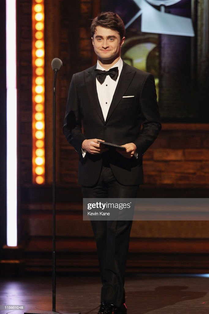 Daniel Radcliffe speaks on stage during the 65th Annual Tony Awards at the Beacon Theatre on June 12 2011 in New York City