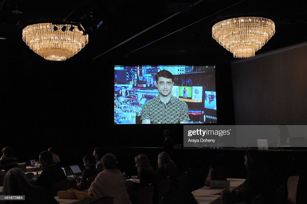 Daniel Radcliffe speaks via satellite at the Ovation TV's 'A Young Doctor's Notebook and Other Stories' panel at the 2014 Summer Television Critics Association at The Beverly Hilton Hotel on July 8, 2014 in Beverly Hills, California.
