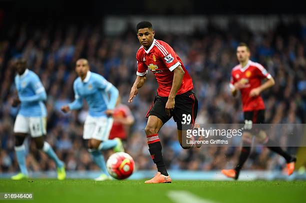 Daniel Rashford of Manchester United in action during the Barclays Premier League match between Manchester City and Manchester United at Etihad...