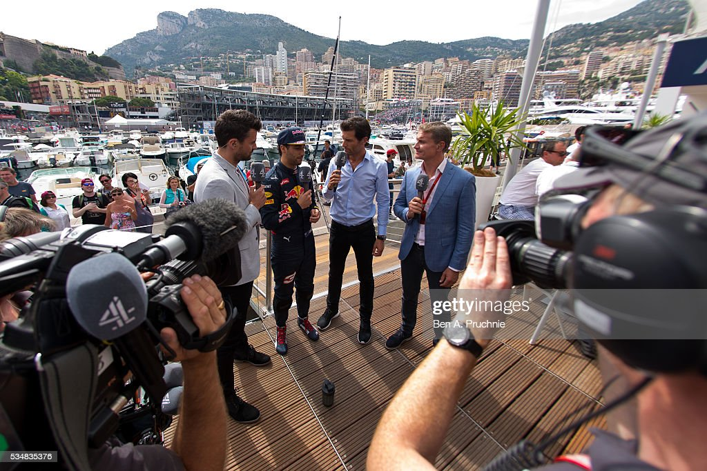 <a gi-track='captionPersonalityLinkClicked' href=/galleries/search?phrase=Daniel+Ricciardo&family=editorial&specificpeople=6547569 ng-click='$event.stopPropagation()'>Daniel Ricciardo</a> is interviewed by journalists on the deck of the Red Bull Racing Energy Station at Monte Carlo on May 28, 2016 in Monaco, Monaco.