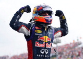 Daniel Ricciardo of Australia and Infiniti Red Bull Racing celebrates victory in the Hungarian Formula One Grand Prix at Hungaroring on July 27 2014...