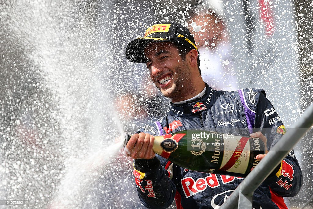 <a gi-track='captionPersonalityLinkClicked' href=/galleries/search?phrase=Daniel+Ricciardo&family=editorial&specificpeople=6547569 ng-click='$event.stopPropagation()'>Daniel Ricciardo</a> of Australia and Infiniti Red Bull Racing celebrates on the podium after winning the Belgian Grand Prix at Circuit de Spa-Francorchamps on August 24, 2014 in Spa, Belgium.