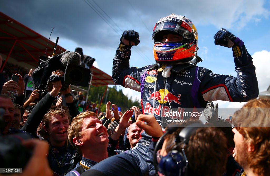 <a gi-track='captionPersonalityLinkClicked' href=/galleries/search?phrase=Daniel+Ricciardo&family=editorial&specificpeople=6547569 ng-click='$event.stopPropagation()'>Daniel Ricciardo</a> of Australia and Infiniti Red Bull Racing celebrates in Parc Ferme after winning the Belgian Grand Prix at Circuit de Spa-Francorchamps on August 24, 2014 in Spa, Belgium.