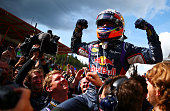 Daniel Ricciardo of Australia and Infiniti Red Bull Racing celebrates in Parc Ferme after winning the Belgian Grand Prix at Circuit de...