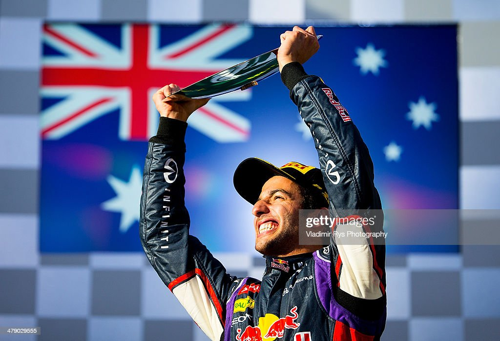 <a gi-track='captionPersonalityLinkClicked' href=/galleries/search?phrase=Daniel+Ricciardo&family=editorial&specificpeople=6547569 ng-click='$event.stopPropagation()'>Daniel Ricciardo</a> of Australia and Infiniti Red Bull Racing celebrates after finishing second during the Australian Formula One Grand Prix at Albert Park on March 16, 2014 in Melbourne, Australia.