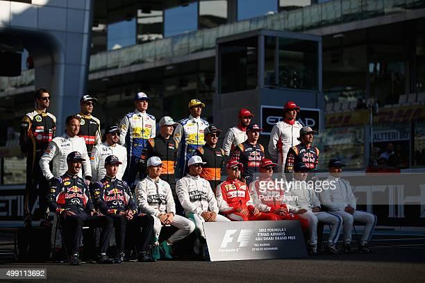 Daniel Ricciardo of Australia and Infiniti Red Bull Racing Daniil Kvyat of Russia and Infiniti Red Bull Racing Nico Rosberg of Germany and Mercedes...