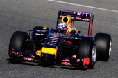Daniel Ricciardo of Australia and Infiniti Red Bull Racing drives on his installation lap during day three of Formula One Winter Testing at the...