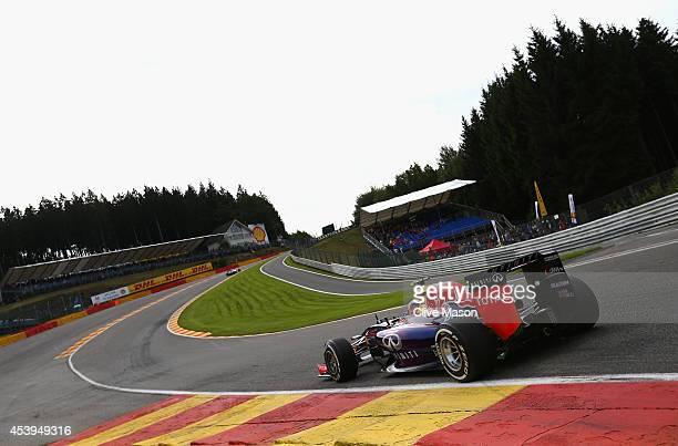 Daniel Ricciardo of Australia and Infiniti Red Bull Racing drives during practice ahead of the Belgian Grand Prix at Circuit de SpaFrancorchamps on...